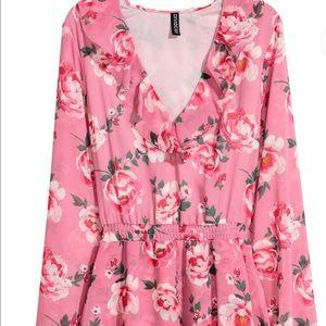 H&M pink Chiffon dress flounces rose floral